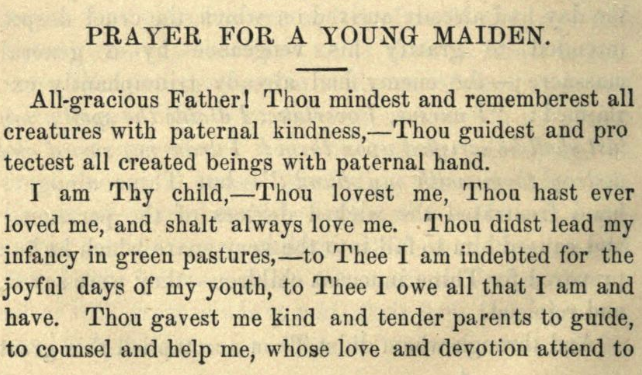 Detail of Moritz Mayer's prayer for a young maiden (Moritz Mayer 1866).