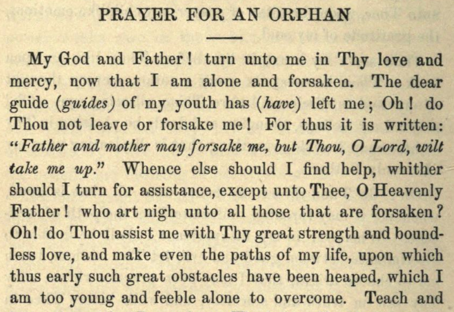 Detail of Moritz Mayer's prayer for an orphan after the death of one or both of her parents.
