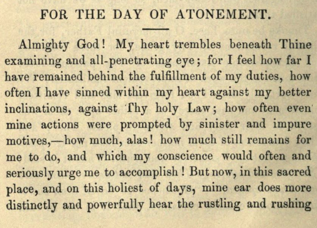 Detail of Moritz Mayer's prayer for the day of atonement (Moritz Mayer 1866).