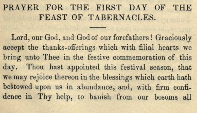 Detail of Moritz Mayer's prayer for the first day of the feast of tabernacles  (Moritz Mayer 1866).