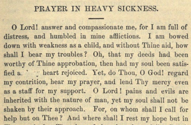 Detail of Moritz Mayer's prayer in heavy sickness (Moritz Mayer 1866).