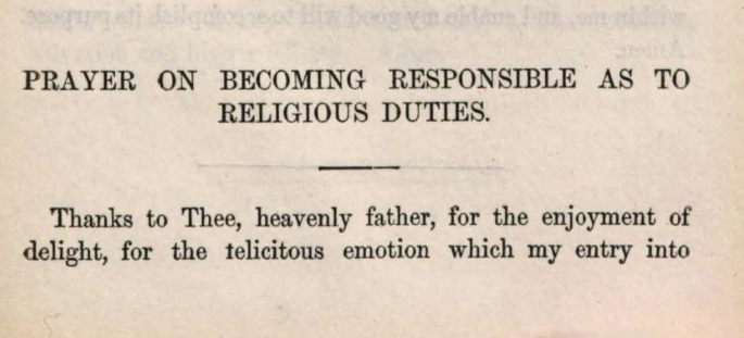Detail of Marcus Heinrich Bresslau's Prayer on becoming responsible as to religious duties