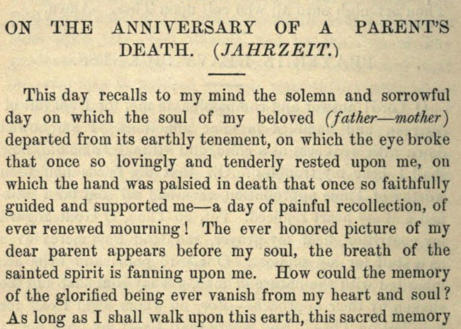 Detail of Moritz Mayer's prayer on the anniversary of a parent's death (Moritz Mayer 1866).