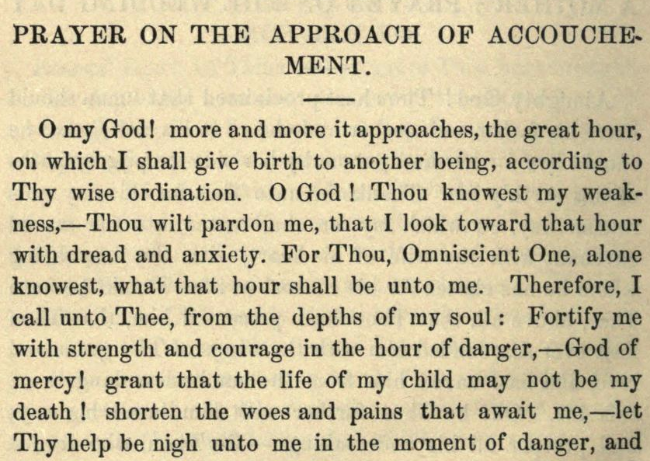 Detail of Moritz Mayer's prayer on the approach of accouchement (Moritz Mayer 1866).
