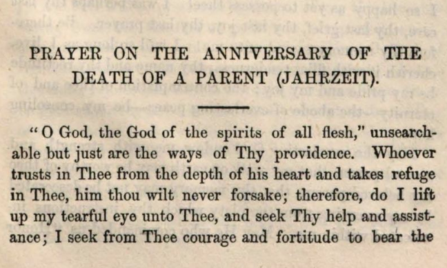 Detail of Marcus Heinrich Bresslau's  Prayer on the Anniversary of the Death of a Parent (Jahrzeit)