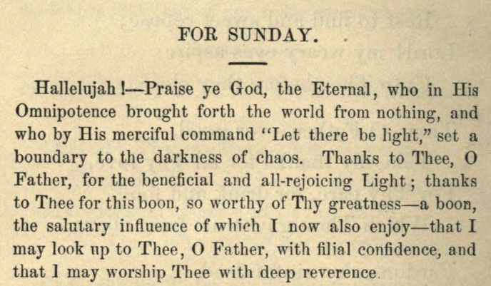 Detail of Moritz Mayer's Sunday prayer.