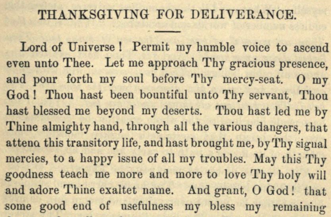 Detail of Moritz Mayer's thanksgiving prayer for deliverance (Moritz Mayer 1866).