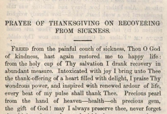 Detail of Marcus Heinrich Bresslau's Prayer of Thanksgiving on Recovering from Sickness