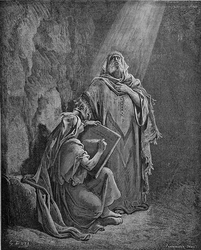 """""""Baruch writing Jeremiah's prophecies"""" by  Gustave Doré (1832-83) and A. Doms, engraver (1866)"""