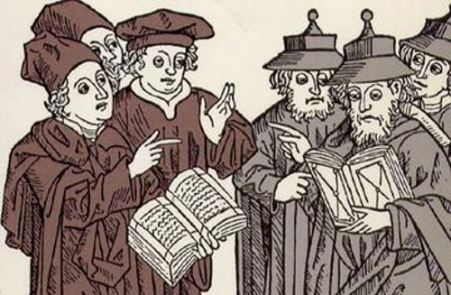 Woodcut carved by Johann von Armssheim (1483). Portrays a disputation between Christian and Jewish scholars (Soncino Blaetter, Berlin, 1929. Jerusalem, B. M. Ansbacher Collection)