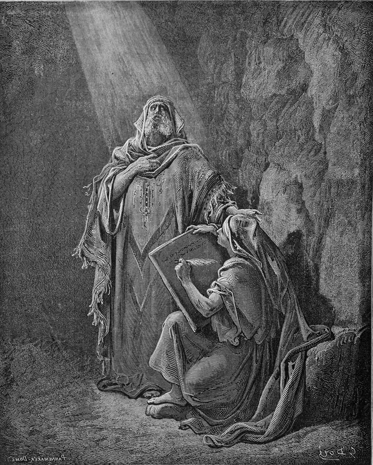 """Baruch writing Jeremiah's prophecies"" by  Gustave Doré (1832-83) and A. Doms, engraver (1866) - horizontally flipped per proper Right-to-Left Hebrew script scribing"