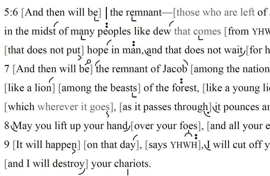 Detail of transtropilized translation of a portion of the Haftarah for Parashat Balaq.