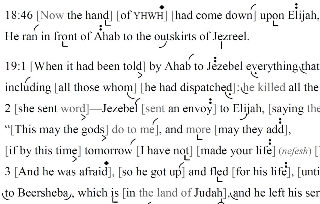 Detail of transtropilized translation of a portion of the Haftarah for Parashat Pinḥas.
