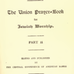 Seder Tefilot Yisrael- The Union Prayer Book for Jewish Worship part 2 - title page