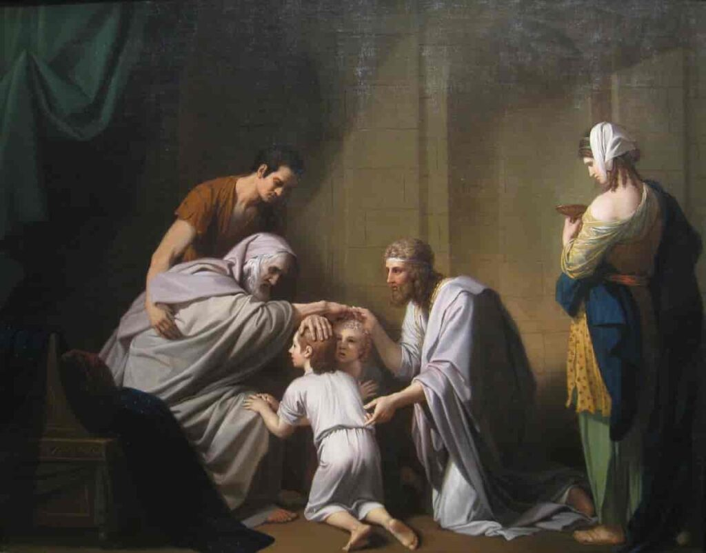 Jacob Blessing Ephraim and Manasseh (Benjamin West 1768)