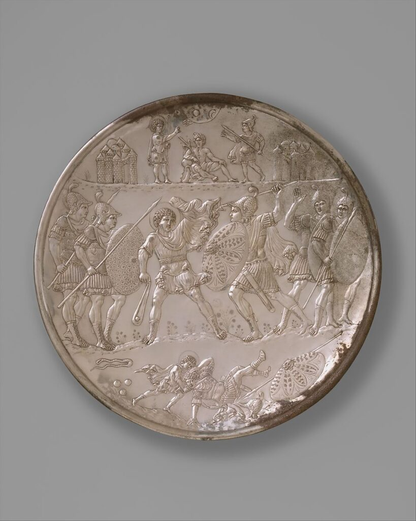Plate with the Battle of David and Goliath (629 CE) (PD)