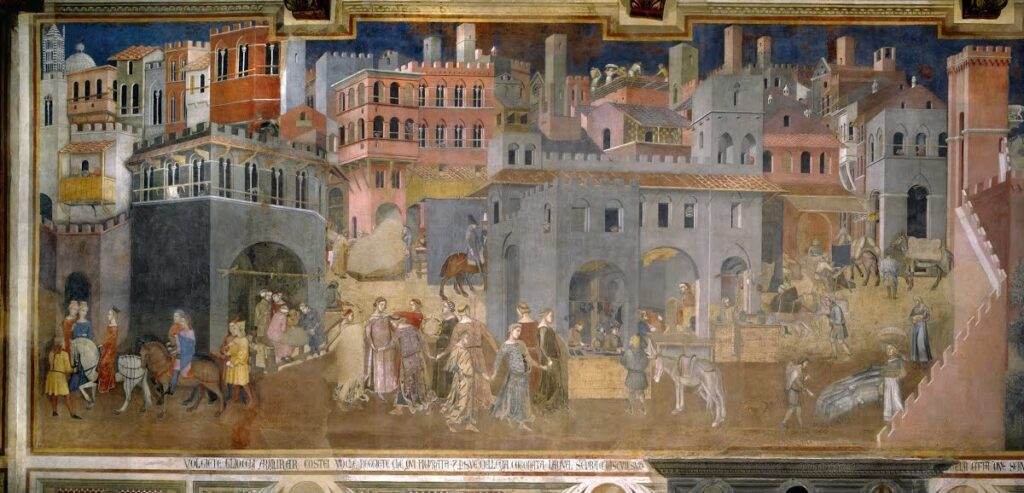 """""""Effects of Good Government in the City"""" from The Allegory of Good and Bad Government by Ambrogio Lorenzetti (ca. 1339)"""