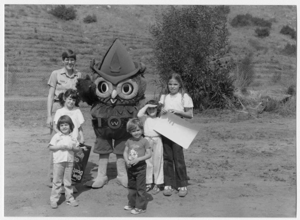 Arbor Day, Wild Animal Park, U.S. Forest Service Employee, Susan Blankenbaker with Woodsy Owl, U.S. Forest Service Employee, Robert Sanders and Children (ca. 1979-1986)
