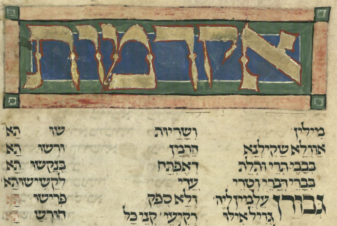 Aqdamut, (Worms Mahzor, f.146r) -- cropped