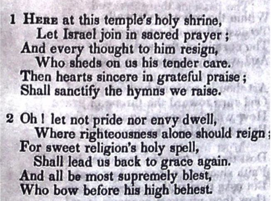 Here At This Temple's Holy Shrine, a hymn on Devotion by Cordelia Moïse Cohen (Ḳ.Ḳ. Beth Elohim 1842)