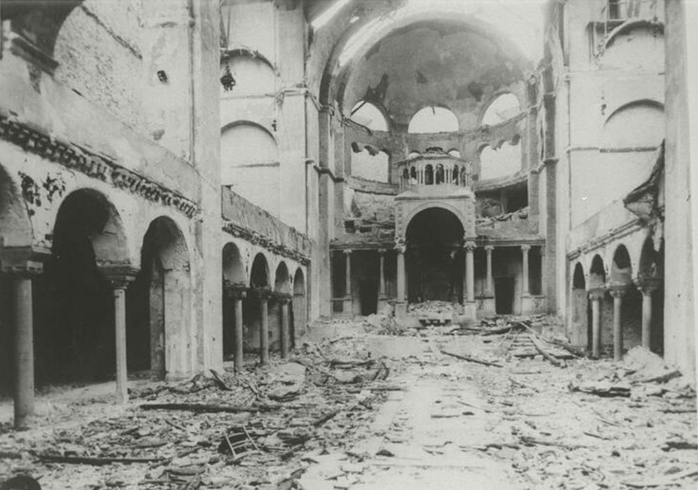 """""""Interior view of the destroyed Fasanenstrasse Synagogue, Berlin, burned on Kristallnacht; November Pogroms."""" (from the Collection of the Center for Jewish History, CC0)"""