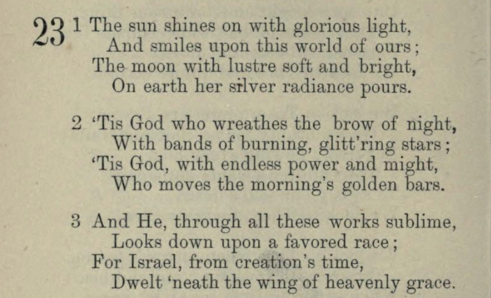 The Sun Shines On With Glorious Light, a hymn on Divine Providence in Relation to Israel by Cordelia Moïse Cohen (Ḳ.Ḳ. Beth Elohim 1842)